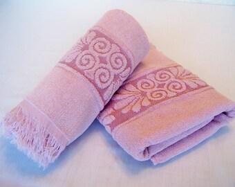 Vintage Bath Set Towel Set Cannon Towels Pink
