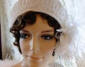 Wedding Headpeice tiara veil beaded with feather flapper headpeice