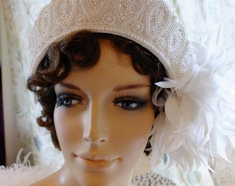 Wedding Headpeice tiara veil beaded with feather flapper headpeice