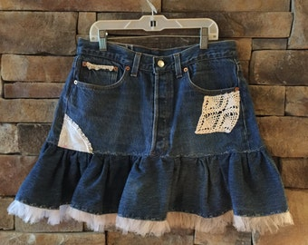 Button-fly Girls Repurposed Denim Skirt with Lace Tulle
