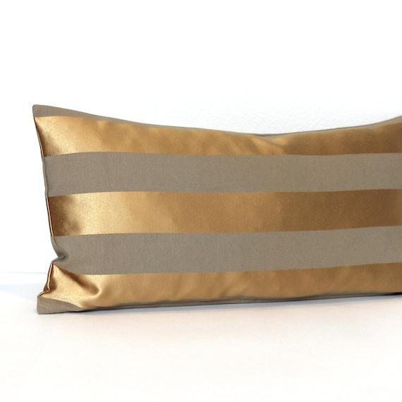 Gold Stripe Decorative Pillow : Gold Pillow Lumbar Pillow Gold Metallic Beige Stripe