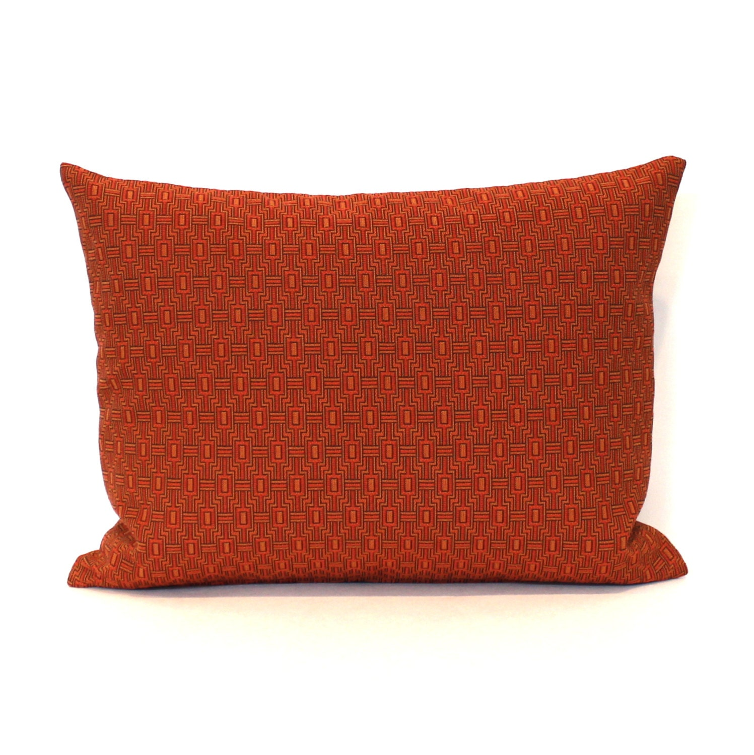 Decorative Orange Lumbar Pillow : Lumbar Pillow Cover Rust Orange Geometric Decorative Oblong