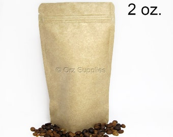 Kraft Paper Bags, Tea Storage, Zip lock Bags, Food Storage bag, Coffee Storage, Gusset Bag, Stand Up Pouch, Resealable Zip Bags, 2 oz. 25 pc