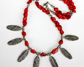 Seven Feathers Necklace - Coral And Feathers - Red Stone - Feather Necklace - Native American Style - Red And Silver - Two Feathers Jewelry