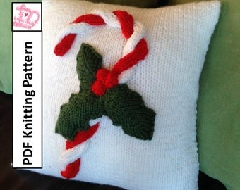 "PDF KNITTING PATTERN, Christmas knitting pattern, Christmas pillow cover knitting pattern, 14""x14"", Candy Cane  pillow cover"