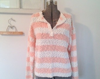 Peach and Cream Nubby Knit Vintage Sweater