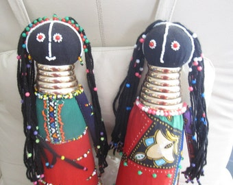 Vintage Ndebele Pair of South African Tall Gold Ring Dolls, Tribal dolls