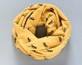 Lizard Scarf Mustard Yellow Infinity Scarf Chunky Cowl Scarf Jersey Knit Scarf Womens Scarves
