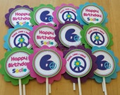 Set of 12 Personalized Peace, Love, Birthday Cupcake Toppers - Peace Birthday -Peace Party -Cupcake Picks -Cupcake Decoration