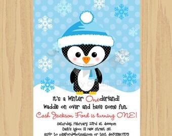 Blue Red Penguin Invite, Penguin Invitation, Printed Invite, Penguin Invite, Penguin Party, Christmas Party invite, Birthday, Baby Shower