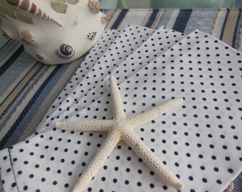 Navy Cloth Napkins - Set of Four -  White with Navy Dots Design Napkins by Pillowscape Designs - Memorial Day, Fourth Of July, Labor Day