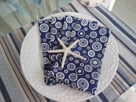 Cloth Napkins - Set of Four -  Navy Circles and Dots Napkins by Pillowscape Designs - Nautical Theme, Seaside Cottage, Beach House