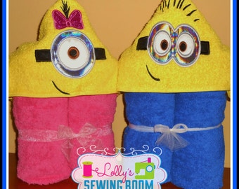 Boy Minion OR girl Minion hooded towel - can be personalized