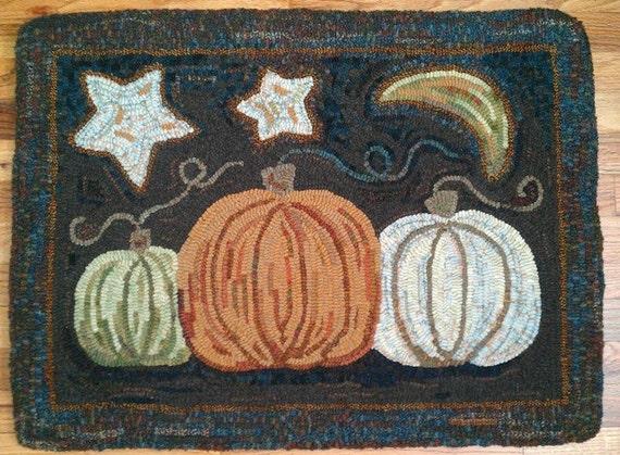 "Rug Hooking PATTERN, Pumpkin Trio, 20"" x 26"", J850, Pumpkin Hooked Rug, Green Pumpkin, White Pumpkin, Orange Pumpkin"