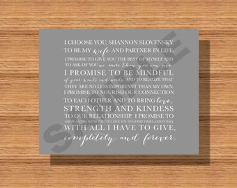 Custom Wedding Vows Printable, Personalized typography, for the Happy Couple, Newlyweds Wedding Vows, Bride's Wedding Vows, Groom's Vows