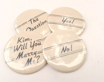 Vintage Marriage Proposal Bride Pin Yes No Bridal Shower Game Will You Marry Me Kim Round Button Engagement Bachelorette Party Beige Gag