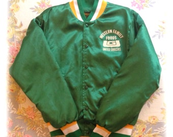 Green satin baseball jacket, Vintage 70s  Size L, Swingster, United Grocers Western Family Foods Union Organization, quilted lining, USA