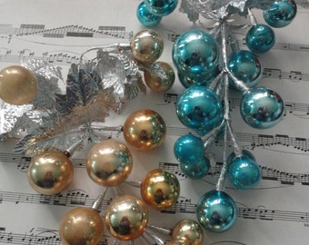 Pair of mercury glass grape clusters Christmas decoration blue and gold