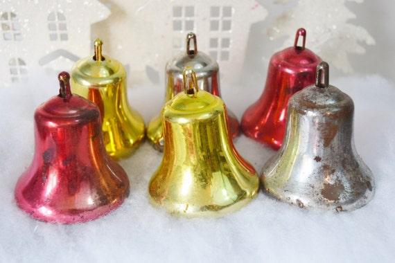 Large plastic christmas bells vintage ornaments red gold