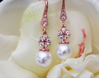 Rose Gold and White Swarovski Crystal Pearl Drop Wedding Earrings, Crystal Drop Bridal Earrings, Petite Rose Gold Pearl Drop Earrings, Gift