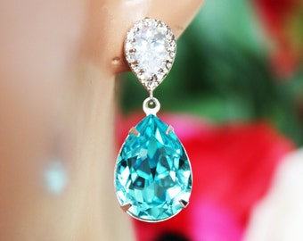 Turquoise Crystal Drop Wedding Earrings, Crystal Drop Bridal Earrings, Rhinestone Bridesmaid Earrings, Bridal Accessories, Beach Wedding