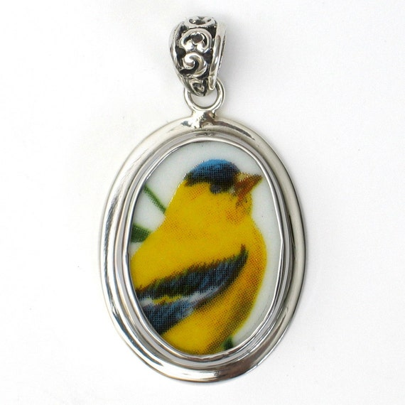 Broken China Jewelry American Goldfinch Garden Bird Sterling Oval Pendant