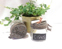 Mason Jar Garden Seed Organizer, Seed Container, Seed Storer with Zinc Lid, Set of 2