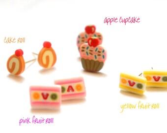 Miniature Cake Roll Cupcake Fruit Cake Post Earrings
