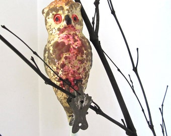 Antique Mercury Glass Christmas Ornament,  Wide Eyed Owl with Spun Glass Tail