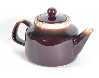 McCoy Brown Drip Teapot 163 Lancaster Colony Line