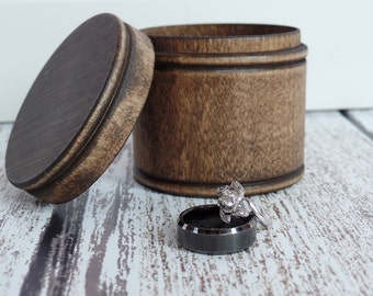 Rustic Wood Ring Box Ring Bearer Box Alternative Keepsake Ring Box Dark Walnut Wood Box Rustic Wedding Ring Box Round Box Country Wedding