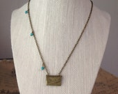 Bronze Envelope Locket, Turquoise Beads, Bronze Necklace