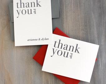 "Modern Typographic Wedding Thank You Cards - ""Urban Elegance"""