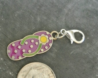 Purple Polka Dot Flip Flop Charm