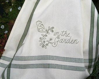 In the garden vintage style embroidered towel