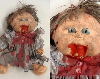 Bloody Zombie Creepy Doll with Glow In The Dark Eyes upcycled Cabbage Patch Kid GIRL Halloween Costume Accessory Prop