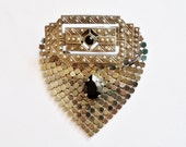 Vintage Mesh Brooch Victorian Revival Art Deco Pewter Tone January Birthstone 10th Anniversary Gift for Her