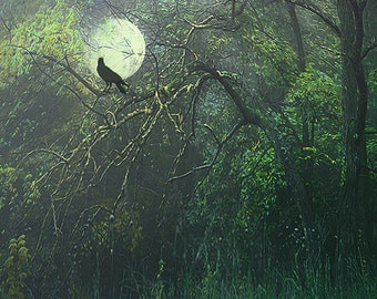 Crow silhouette on moon, creepy Halloween art, dark ghostly gastly yellow green, midnight colors, woodland night crawling with scary vibes