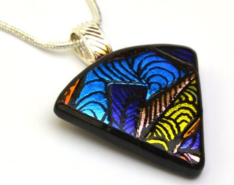Engraved Dichroic Glass Pendant Necklace