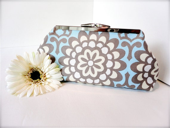 SALE - Bridesmaid Clutch - Metal Frame Clutch - Blue Flower Clutch - Bridesmaid Gift Clutch - Clutch Purse