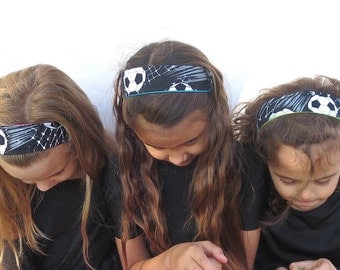 soccer headband. fabric headband girls. design your own 15 reversible solids. order in up to set of 20 and save. Now in two soccer fabrics.