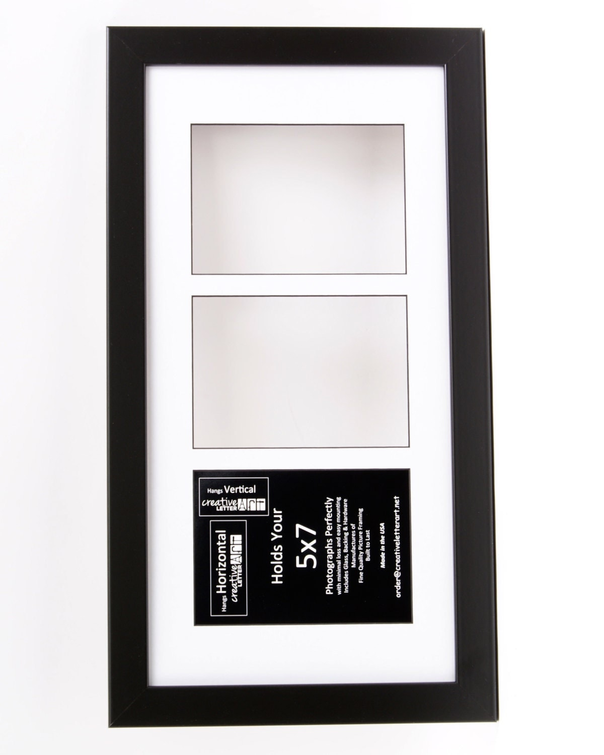 5x7 Black 3 Opening Picture Frame With 10 By 20 Inch
