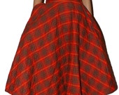 Vintage 1950s 50s Full Circle Skirt. Quilted Cotton. Red Plaid Tartan. Kerrybrooke, California label. Extra Small. 22-23.
