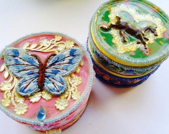 Two Handmade Decoupage Wood Boxes Great Valentines Day Gift