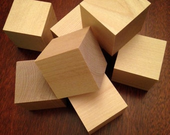 "2"" Solid Unfinished 12 Wood Blocks"