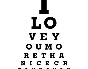 Funny Wall Decor - I Love You More Than Ice Cream - Eye Exam Chart Print