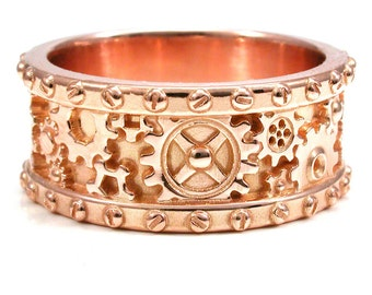Mens 14k Rose Gold Gear Ring with Rivets - Mens Steampunk Wedding Engagement Ring