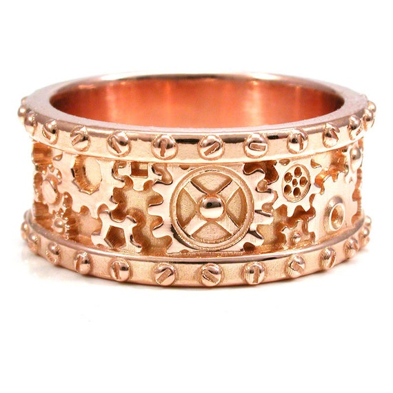 Items Similar To Mens 14k Rose Gold Gear Ring With Rivets