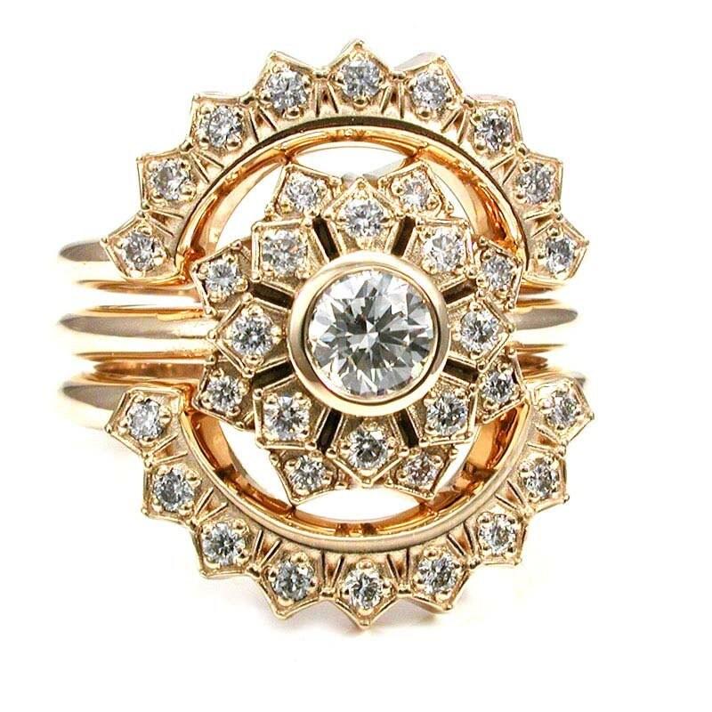 Ultimate Engagement Ring Set Flower Art Deco Double Halo 3