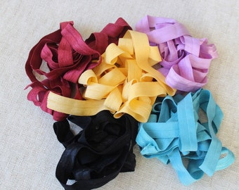 Fold over elastic  5  colors 2 of each color 5/8 inch